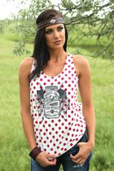 Women's Cruel Girl Tank, Red Polka Dots, Mason Jar