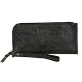 Women's STS Wristlet Clutch, Black, Floral Embossed