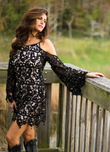 Women's Brontë Dress, Teagan, Black and Nude Lace