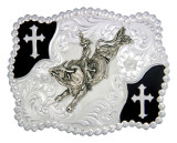 Montana Buckle,Silver with Black Cross Corners