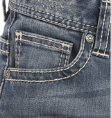 Boys Rock & Roll Jeans, Medium Wash, Revolver Fit, Multiple White V Stiching on Pocket