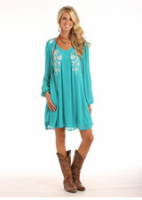 Women's Rock & Roll Dress, Turquoise with Silver Embroidery