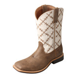 Youth Twisted X Boot, Brown Square Toe, White Barbed Top