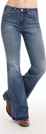 Women's Rock & Roll Jean, Trouser Fit, High Rise, Medium Wash, Faded Hemline