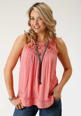 Women's Roper Tank, Coral with Crochet Detailed Neckline