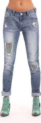 Women's Rock & Roll Jeans, Boyfriend Skinny, Medium Wash with Patches