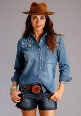 Women's Stetson L/S, Denim with Embroidery and Pearl Snap