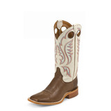 Men's Justin Boot, Stillwater Brown, Ivory Top