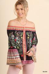 Women's Umgee L/S, Off Shoulder Floral Print, Bell Sleeve