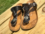 Women's Whole Herd Sandals, Cowhide with Concho