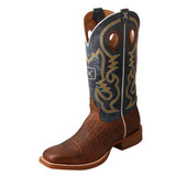 Men's Twisted X Boot, Cognac Elephant Print, Blue Shaft