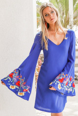 Women's Judith March Dress, Blue V-Neck, Embroidered Bell Sleeve