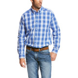 Men's Ariat L/S, Pablo, Blue and White Plaid