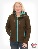 Women's Cowgirl Tuff Jacket, Brown with Turquoise Accents, Logo Embroidery