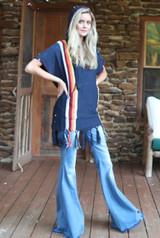 Women's Judith March Top, Hooded Stripe Poncho, Blue