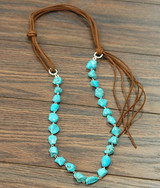 Isac Trading Necklace, Turquoise Stones, Suede Leather