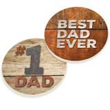 PGD Car Coaster Set, Best Dad Ever, #1 Dad