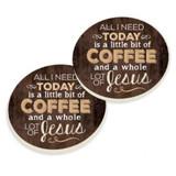 PGD Car Coaster Set, Little Bit of Coffee, Whole Lot of Jesus