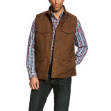 Men's Ariat Vest, Waggoner, Brown Canvas