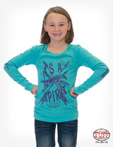 Girls Cowgirl Tuff L/S, Turquoise, It's A Spirit