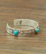 Isac Trading Cuff, Silver with Arrows and Turquoise Stones