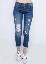 Women's Sneak Peek Jeans, Skinny Boyfriend Ankle, Distressed, Light Wash