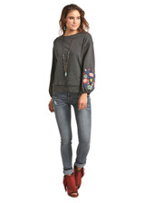 Women's Rock & Roll L/S, Charcoal, Embroidered Puff Sleeve