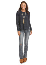 Women's Rock & Roll Top, Cable Knit Navy, Sequins
