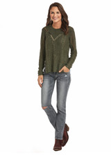 Women's Rock & Roll Top, Cable Knit Olive, Sequins