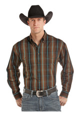 Men's Panhandle L/S, Brown and Turquoise Plaid