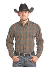 Men's Panhandle L/S, Blue and Brown Plaid