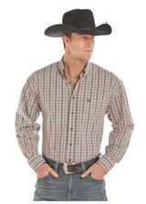 Men's Panhandle L/S, Black and Brown Plaid