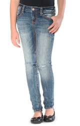 Girls Grace in LA Jeans, Skinny Rust Stitching