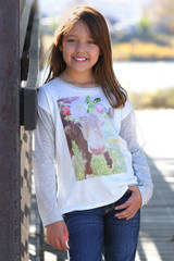 Girls Cruel Girl L/S, White with Gray Sleeves, Floral Calf