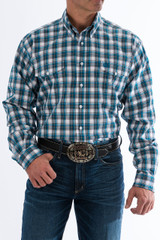 Men's Cinch L/S, Blue with White Plaid