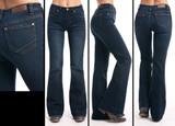 Women's Rock & Roll Jeans, Trouser, Dark Wash, Diagonal Stich