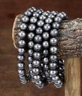 West & Co. Bracelet, 5 Strand, Burnished Silver Beads