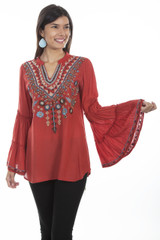 Women's Scully Top, Red Embroidered V-Neck, Double Tiered Sleeve