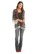 Women's Rock & Roll Kimono, Red and Blue Aztec, Fringe