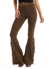 Women's Rock & Roll Pants, Brown Bell Bottom, Fringe