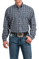 Men's Cinch L/S, Navy, Turquoise and Green Plaid