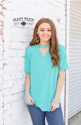 Women's Crazy Train Shirt, Turquoise Textline V-Neck