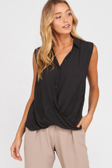 Women's Wishlist Top, Draped Front, Button Up, Collared
