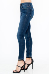 Women's Sneak Peek Jeans, Mid Rise Skinny, Double Button, Medium Dark Wash