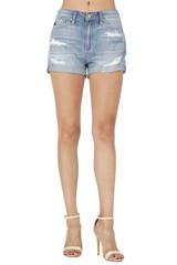 Women's KanCan Shorts, Light Wash, Distressed, Cuffed Hem,