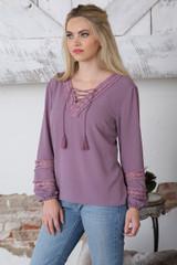 Women's Cruel Girl Top, Purple with Lace Details