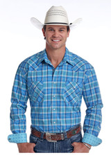 Men's Panhandle L/S, Light Blue Plaid, Pearl Snap
