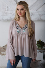 Women's Cruel Girl Top, Gray with  Embroidery, Bell Sleeves