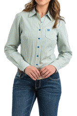 Women's Cinch L/S, Light Blue and Yellow Pinstripe