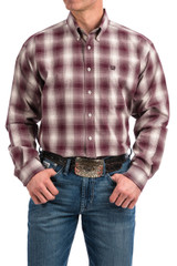 Men's Cinch L/S, Burgundy and White Plaid